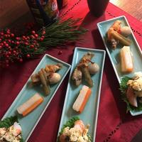 3日目の肴【新年のおつまみ三種ー和風ポテサラ・柚子風味の紅白ピクルス・鶏スペアリブとごぼうの山椒煮込み】