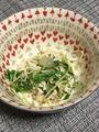 切干大根と水菜・竹輪のマヨ和えかぼす&すだちペーストのっけ