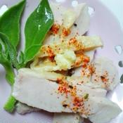 塩麹鶏の「ゴマ油七味しょうが」