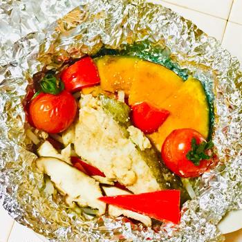 緑黄色野菜たっぷり♪鱈とカボチャのホイル蒸し♡