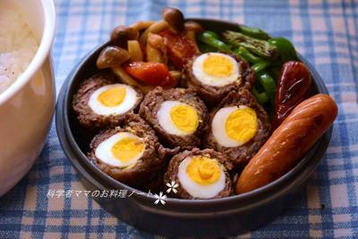 ウズラ卵の牛肉巻きがメインのお弁当