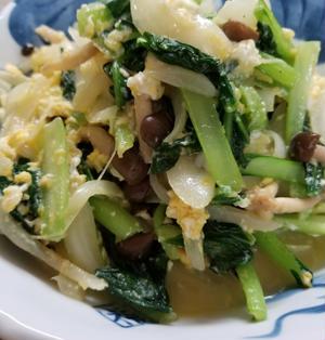 小松菜と玉ねぎ、しめじの旨味炒め