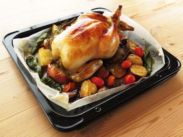 ダッチオーブンを使った丸鶏のローストチキン