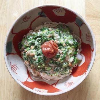 夏バテに効くモロヘイヤのネバネバ素麺