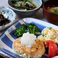 お豆腐ハンバーグの晩ごはん と シフォンケーキ。