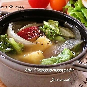 クックパッドでトップ10入り「さつま芋・玉ねぎ・レタス☆コンソメスープ」&ラストポチ報告
