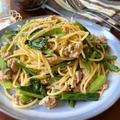包丁不要♡挽肉と小松菜のマヨポンパスタ【#簡単レシピ#時短#節約#お昼ご飯#麺#スパゲティ】