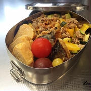 ズッキーニとパプリカと豚挽きのっけのお弁当。