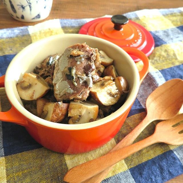 小鍋で5分☆さばの水煮缶とマッシュルームのアヒージョ