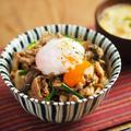 きのこ豚すた丼 、 秋のスタミナ丼レシピ