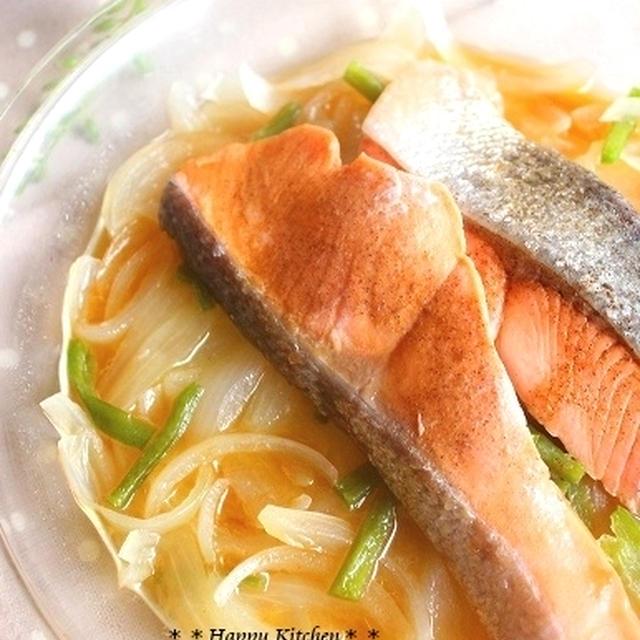 レンジでふっくら!鮭と玉ねぎの酒蒸し*レモン醤油風味