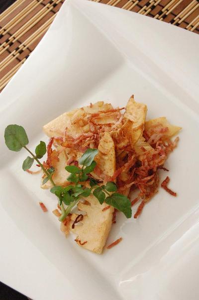 竹の子とベーコンのバター焼き