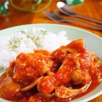 鶏手羽元と舞茸のトマト煮込み♪