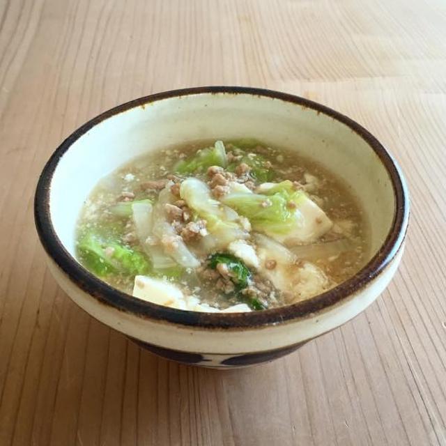 白菜、豆腐、豚ひき肉の煮物
