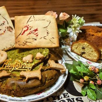 ニャンコ先生&斑(まだら)のステンシルクッキーdeゆーたんのバースデーケーキ