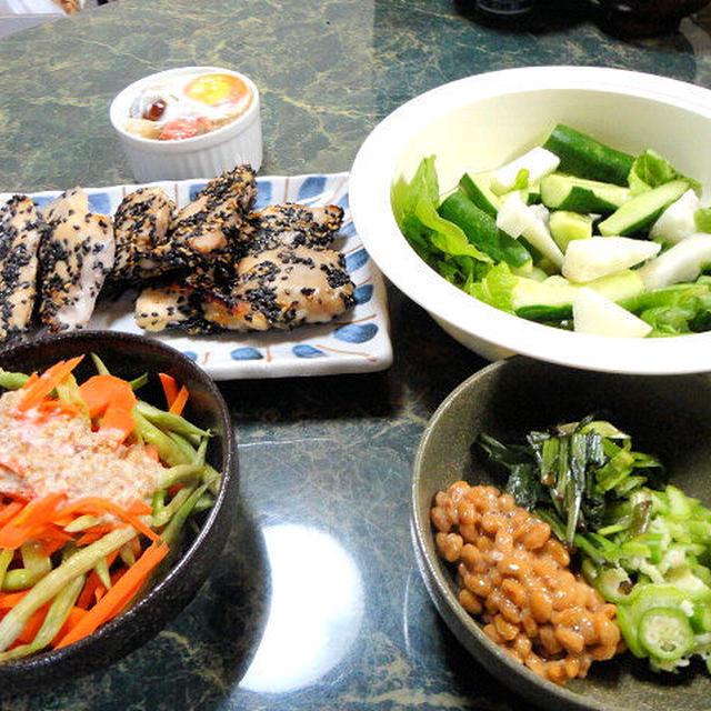 8月7日★ごま焼きチキンや長芋ときゅうりの梅酢サラダ5品★有難いお地蔵さんと有難味のない私の写真