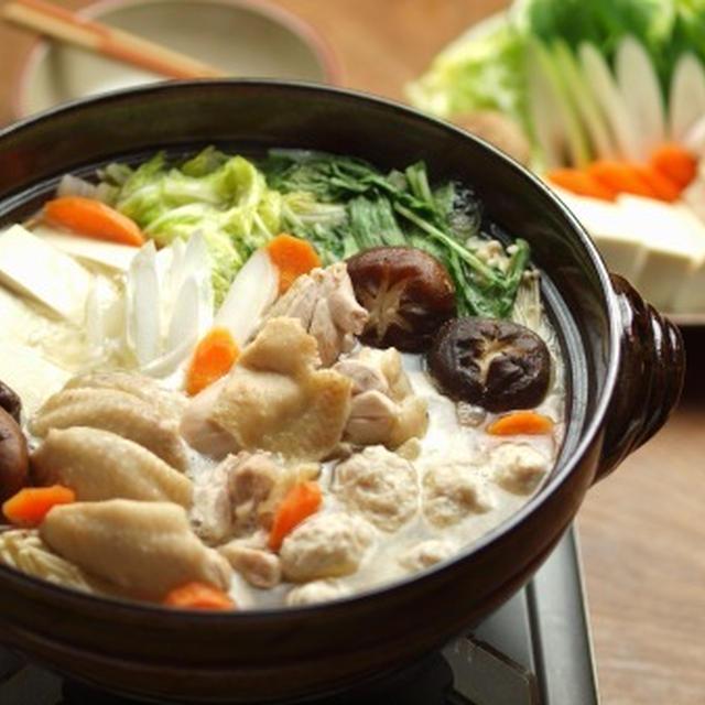 水炊きの作り方、鶏もも肉、手羽先、自家製鶏つくね