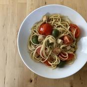 チキンとトマトの和風ペペロンチーノ