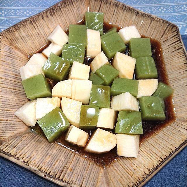 切るだけ5分で簡単、山芋と刺身こんにゃくで、腸活、免疫力アップ(火不要)