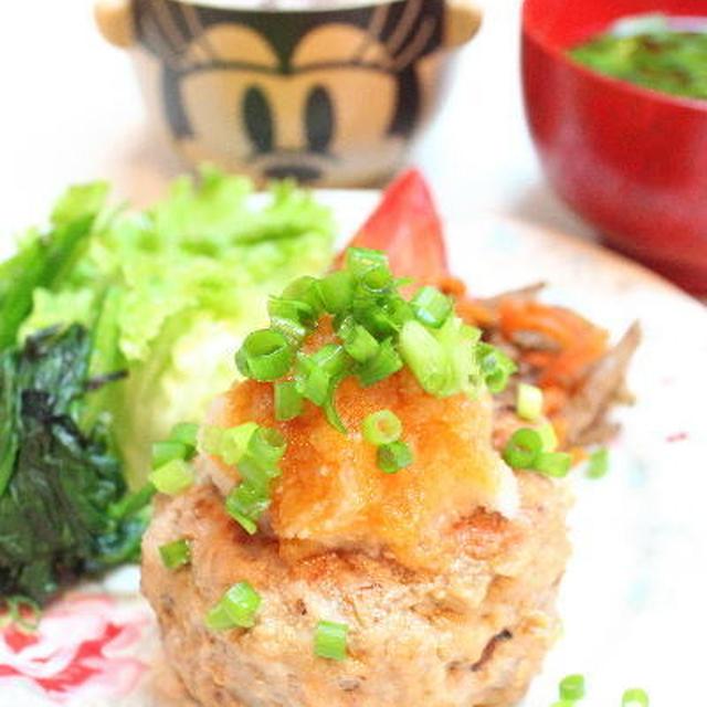 おろしのっけ豆腐ハンバーグの晩御飯 オムライス弁当