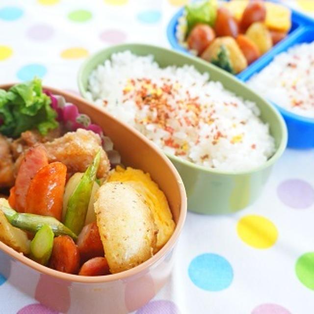 お弁当鬼リピレシピ!フライドポテトとウィンナーとアスパラの粒マスタード炒め~小学生弁当
