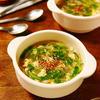 簡単もやしと豆苗の中華風フワフワ卵スープ