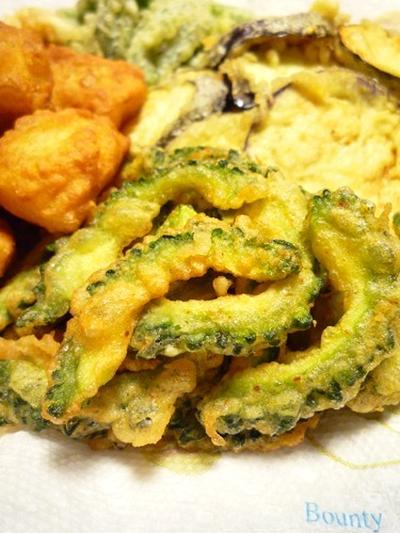 自家製ゴーヤの天ぷら ~ ピリ辛焦がしにんにく醤油風味 ~