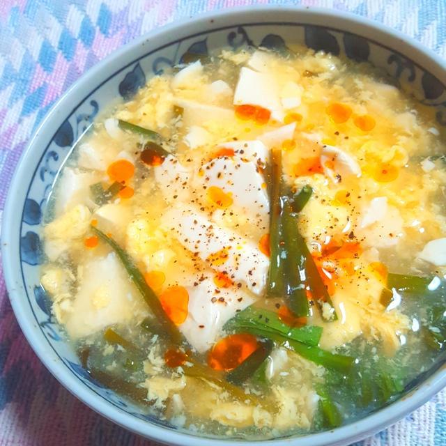 豆富・卵とニラの酸辣湯(サンラータン)