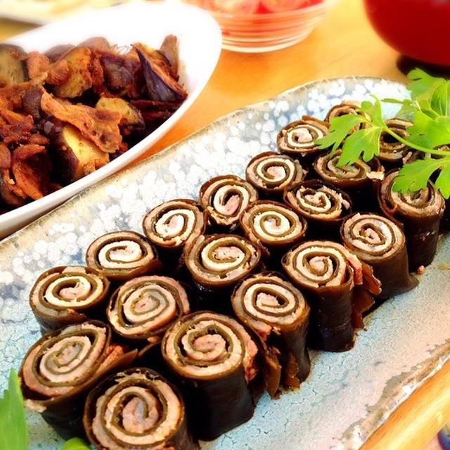 豚の昆布巻き。茄子と豚の味噌炒め。
