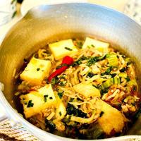 切り干し大根とひき肉とレタス外葉と厚揚げで坦々風とろみスープ♡