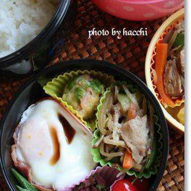 ハムカップ卵&肉野菜炒め