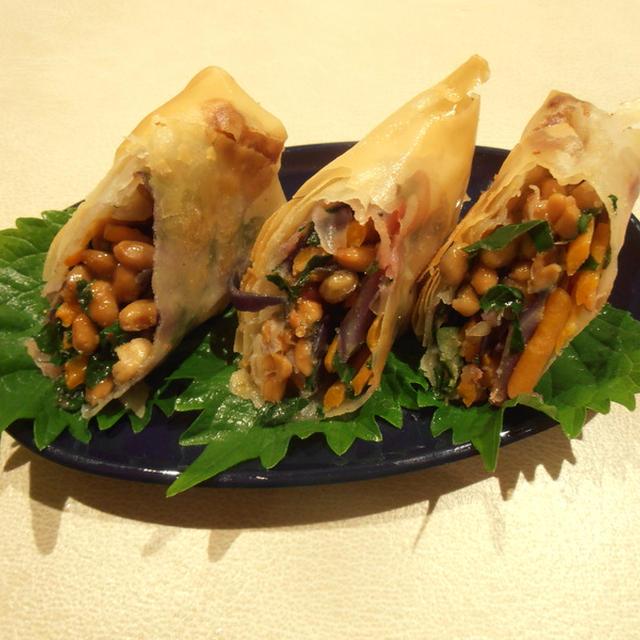 納豆とスーパーフードの春巻き