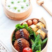 お豆腐メンチカツと豆ご飯のお弁当~パパのお弁当~