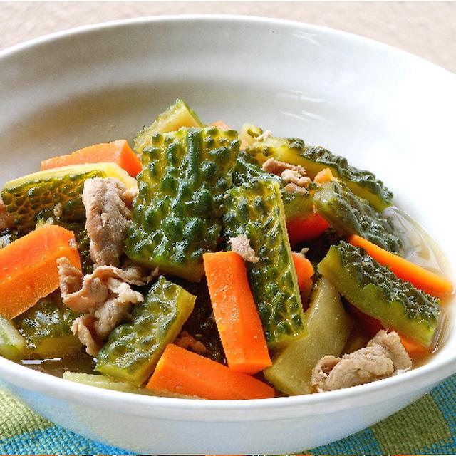 余熱調理で簡単、時短!ゴーヤと豚肉のサッと煮。