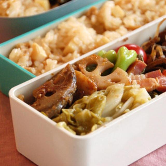 親子弁当とタケノコご飯のレシピ