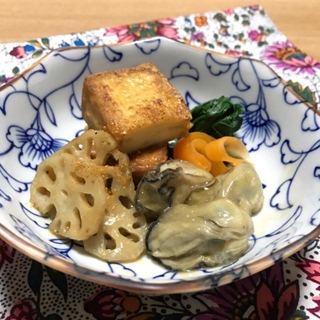 牡蠣と厚揚げの甘辛みそ炒め