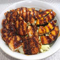ソース鶏カツ丼のカボチャ添え(節約、簡単)卵、小麦粉不要