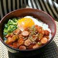 レンジで簡単!ピリ辛トマトのウインナー丼