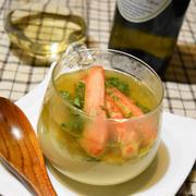 カニあんかけ茶わん蒸し。2層が華やかお正月にもおすすめレシピ。