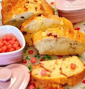 バニラ香る苺のマーブルパウンドケーキ
