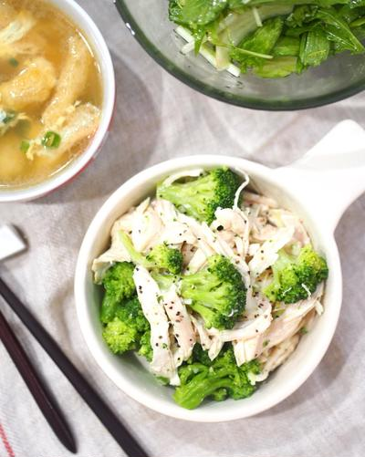 レンジで簡単♡無限〜〜♡にんにくマヨdeブロッコリーと鶏ハムの無限サラダ♡〈ゆる糖質オフ〉