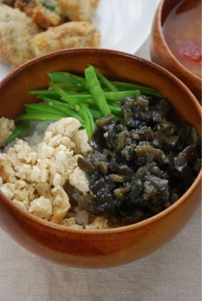雲南レシピ☆茄子そぼろと炒り豆腐の三色丼