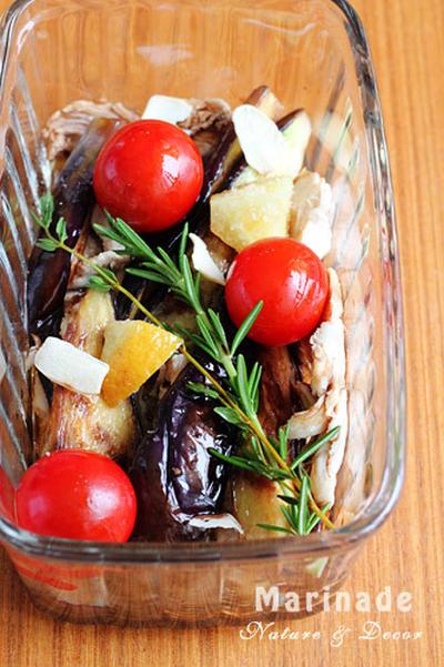 茄子とササミのバルサミコマリネ