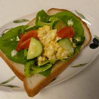 お野菜いっぱい卵のオープンサンド