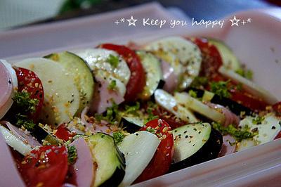 +*レンジで簡単イタリアン野菜蒸し ガーリックオニオン+*