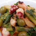 野菜ジュースで①☆タコとセロリのオリーブ煮