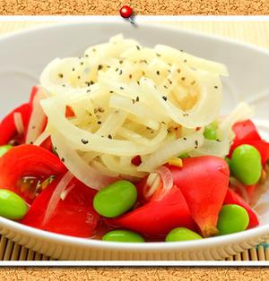 トマトと枝豆の酢たまねぎサラダ。