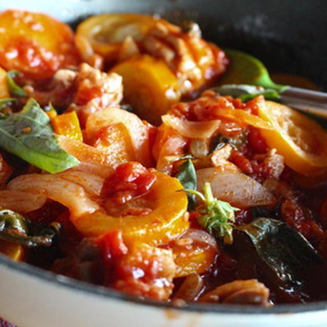 365日糖質オフレシピNo.185「チキンとズッキーニのトマト煮」