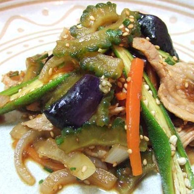 晩夏メニュー♪豚肉と夏野菜の混ぜ盛り♪低カロ韓国風・の巻
