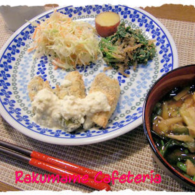 牡蠣と鮭のフライ定食♪